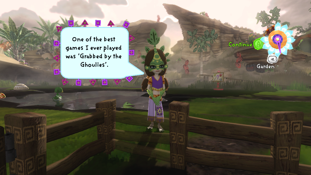"""Viva Pinata screenshot - Leafos saying """"One of the best games I ever played was 'Grabbed by the Ghoulies'."""""""