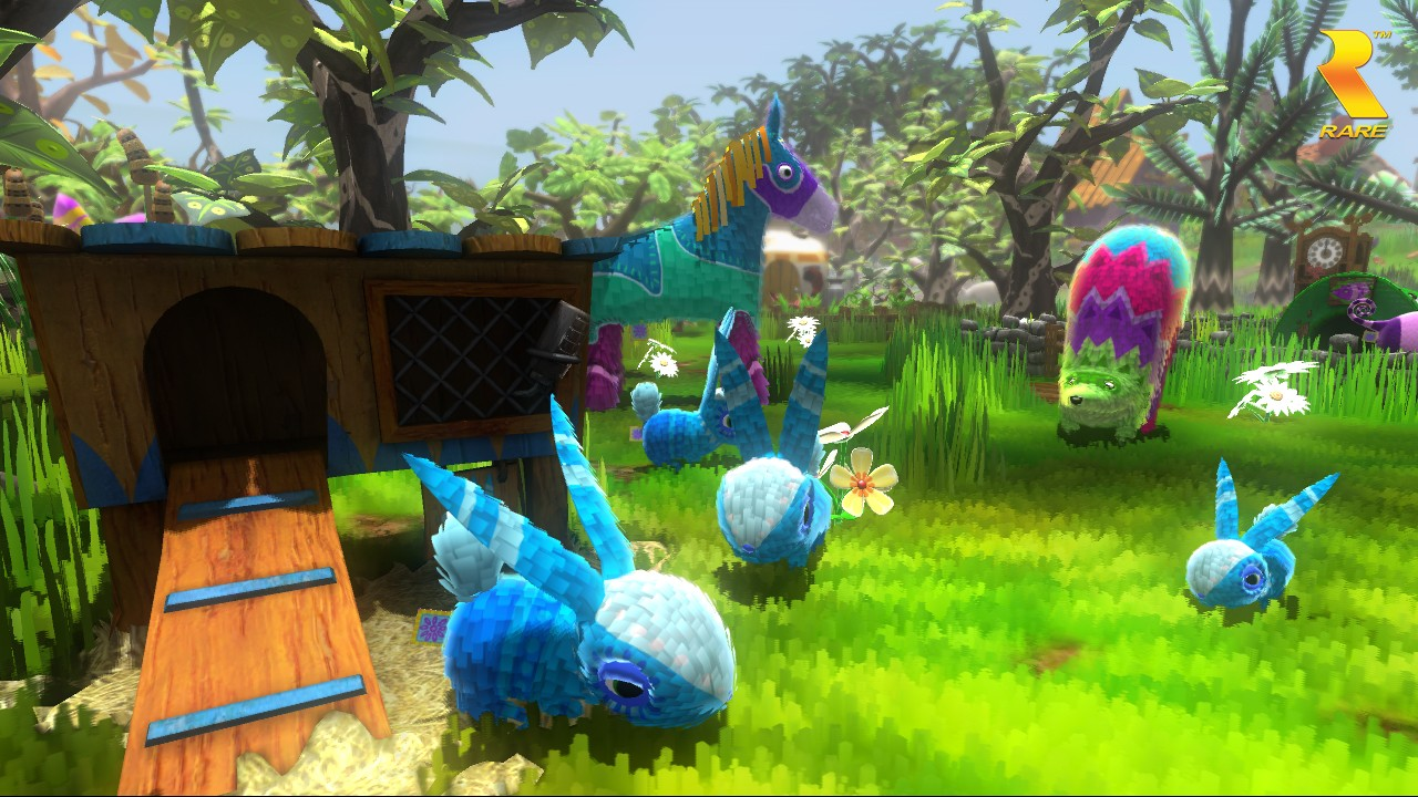 Viva Pinata screenshot - garden full of pinatas