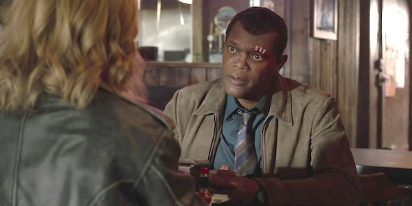 Nick Fury and Carol Danvers at a diner