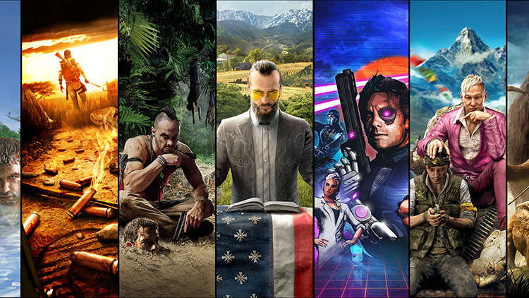 A collage of Far Cry game covers